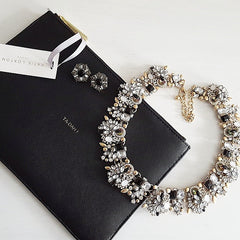 Katie Loxton Clutch bag, statement jewel necklace