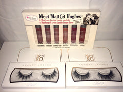 False Eye lashes, lip glosses in matte gift set
