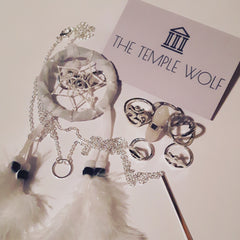 The Temple wolf, Bohemian dream catcher & silver boho rings