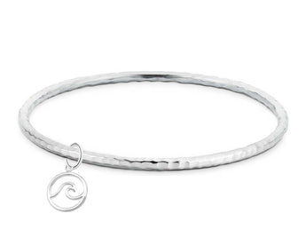 Hammered Wave Charm Bangle, bracelets, saltandco