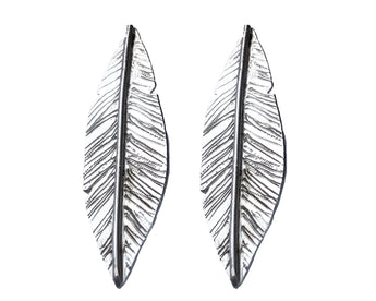 Statement Feather Studs, Earrings, saltandco