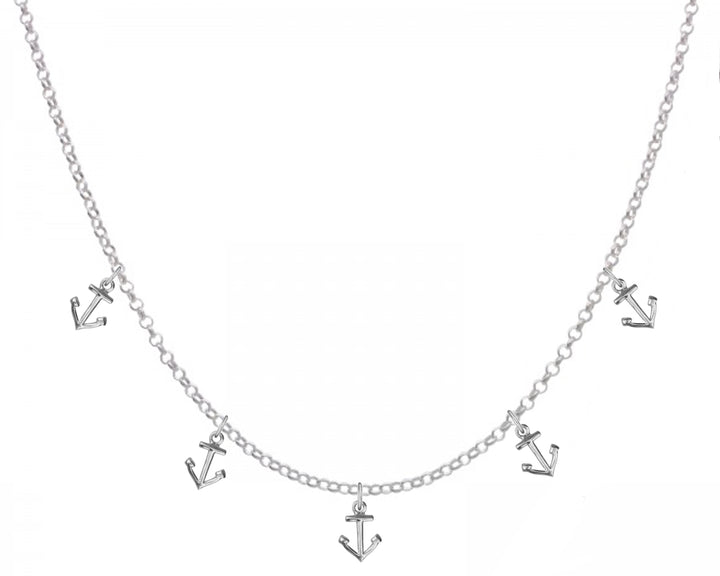 5 Anchors Necklace, Necklaces, saltandco