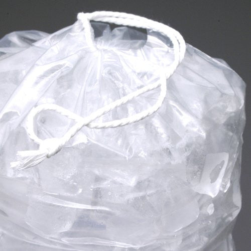 8 lb. Heavy Plastic Ice Bags with Drawstrings Case (500 bags/case)