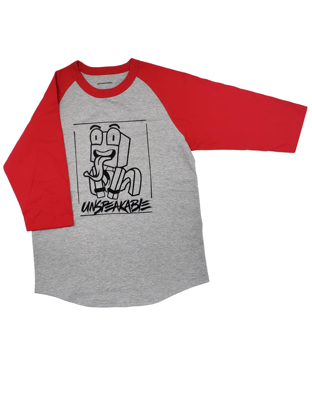 GREY/RED CROUCHING ICON ¾ SLEEVE T-SHIRT - Unspeakable Merchandise