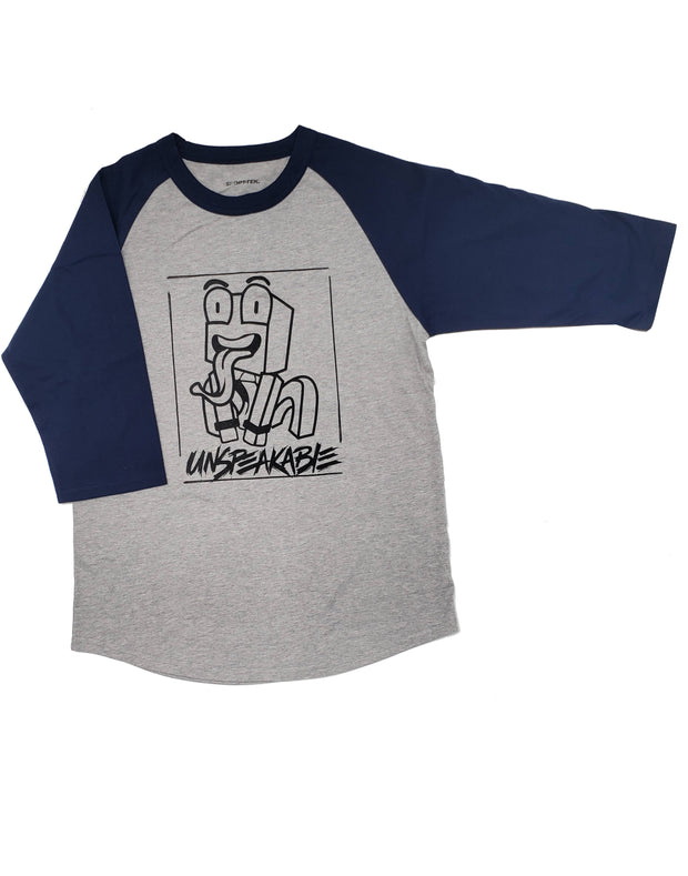 GREY/NAVY CROUCHING ICON ¾ SLEEVE T-SHIRT - Unspeakable Merchandise