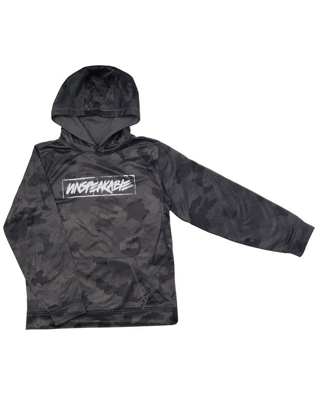 DARK GREY CAMO HEX PULLOVER HOODIE - Unspeakable Merchandise