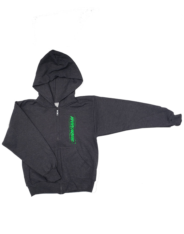 DARK HEATHER GREY ZIPPER HOODIE - UnspeakableGaming