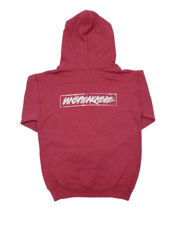 RED HEATHERED PULLOVER HOODIE