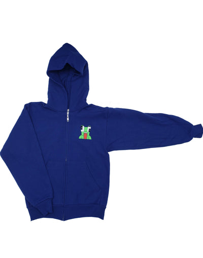 BLUE CROUCHING ICON ZIPPER HOODIE