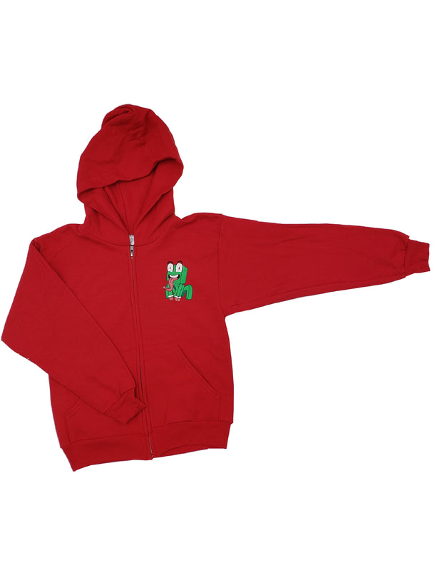 RED CROUCHING ICON ZIPPER HOODIE - UnspeakableGaming
