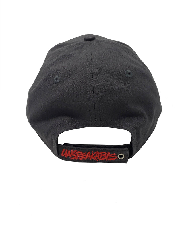 GREY CUSTOM HAT W/RED FONT & RED STITCHING - Unspeakable Merchandise