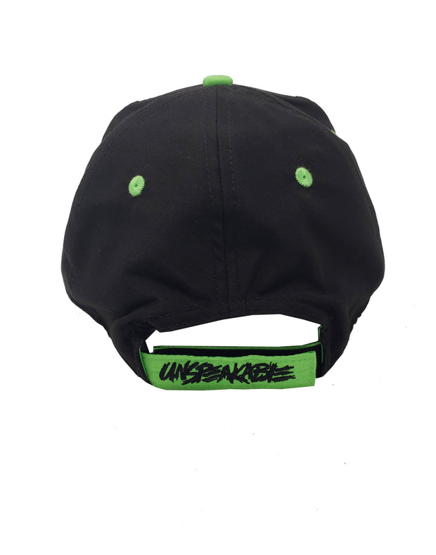 CROUCHING ICON HAT W/NEON GREEN FONT - UnspeakableGaming