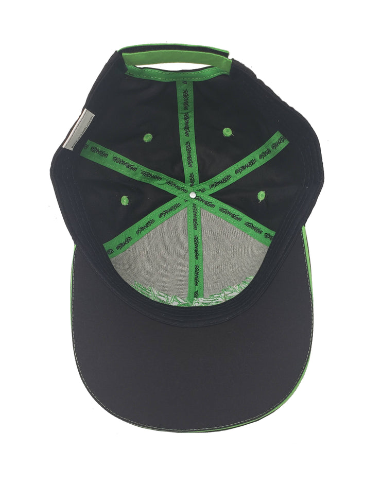 BLACK CROUCHING ICON HAT W/NEON GREEN FONT - Unspeakable Merchandise