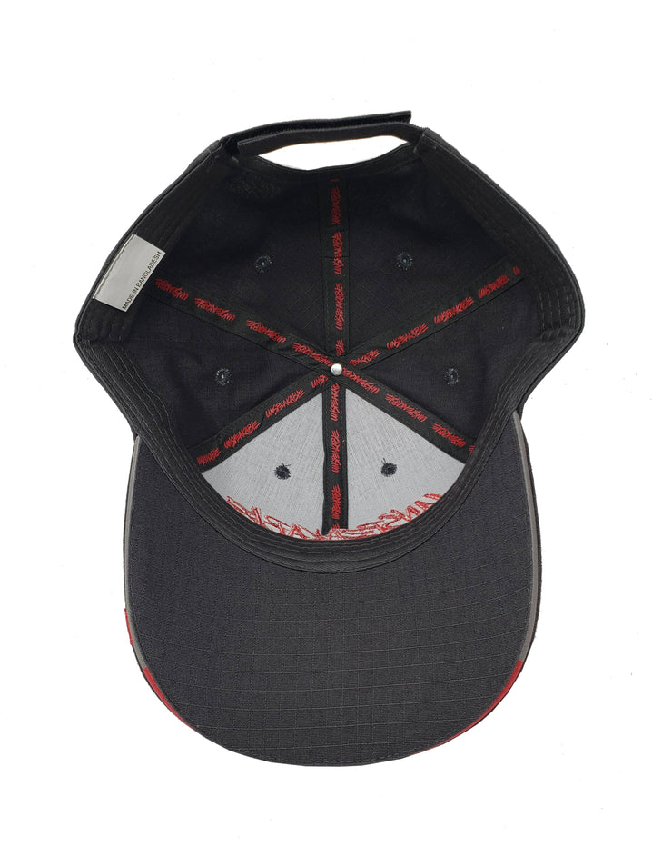 GREY CUSTOM HAT W/RED FONT & RED STITCHING - UnspeakableGaming