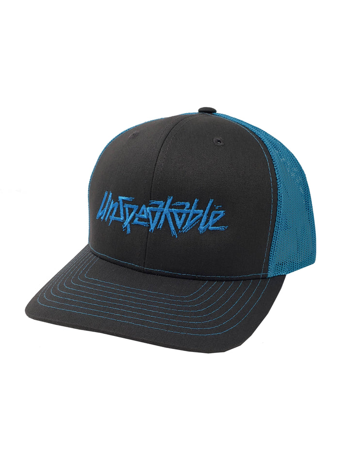 GREY/NEON BLUE HAT - UnspeakableGaming