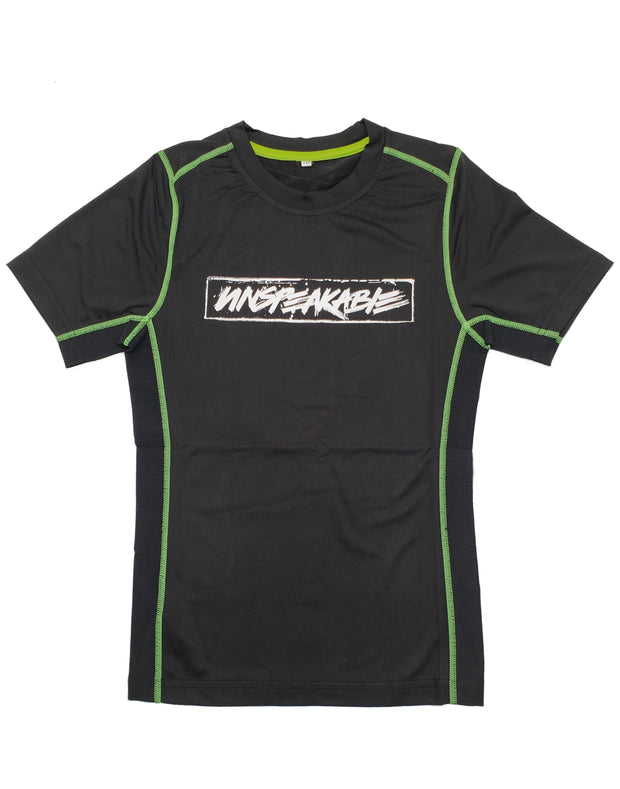 BLACK ATHLETIC SHIRT W/NEON GREEN STITCHING - UnspeakableGaming