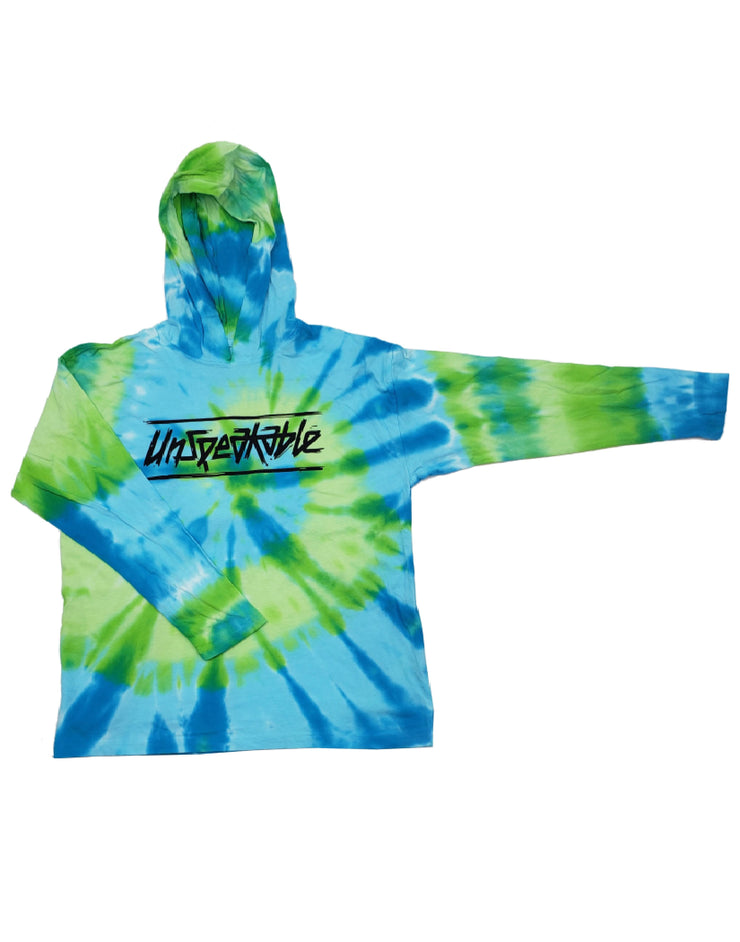 GREEN/BLUE SWIRL HOODED LONG SLEEVE T-SHIRT - Unspeakable Merchandise