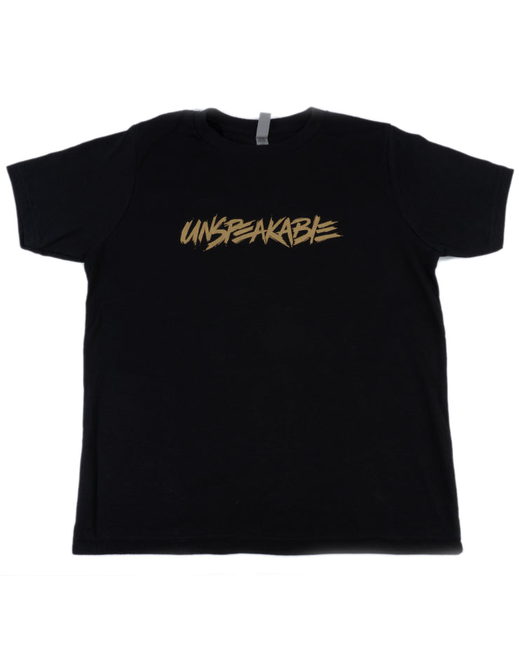 BLACK T-SHIRT WITH GOLD FONT - Unspeakable Merchandise