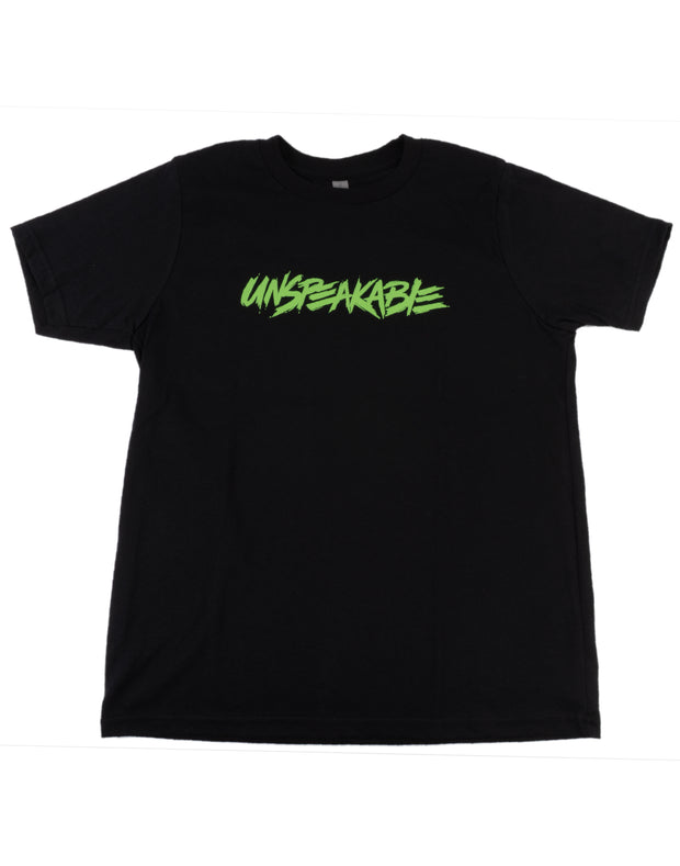 BLACK T-SHIRT WITH NEON GREEN FONT - Unspeakable Merchandise