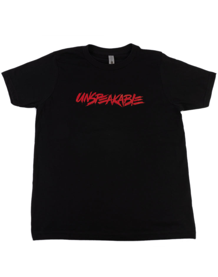 BLACK T-SHIRT WITH RED FONT