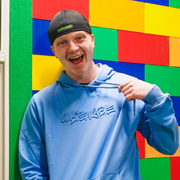 BLUE EMBOSSED PULLOVER HOODIE - UnspeakableGaming