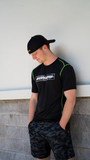 BLACK ATHLETIC SHIRT W/NEON GREEN STITCHING