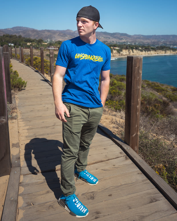 ROYAL BLUE HEATHERED T-SHIRT WITH YELLOW FONT - Unspeakable Merchandise