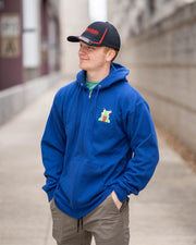 BLUE CROUCHING ICON ZIPPER HOODIE - Unspeakable Merchandise