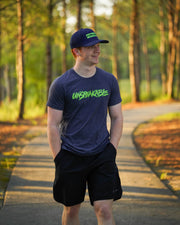 NAVY HEATHERED T-SHIRT W/NEON GREEN FONT - UnspeakableGaming