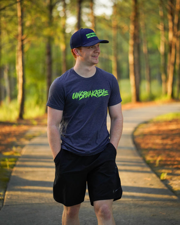 NAVY HEATHERED T-SHIRT W/NEON GREEN FONT - Unspeakable Merchandise