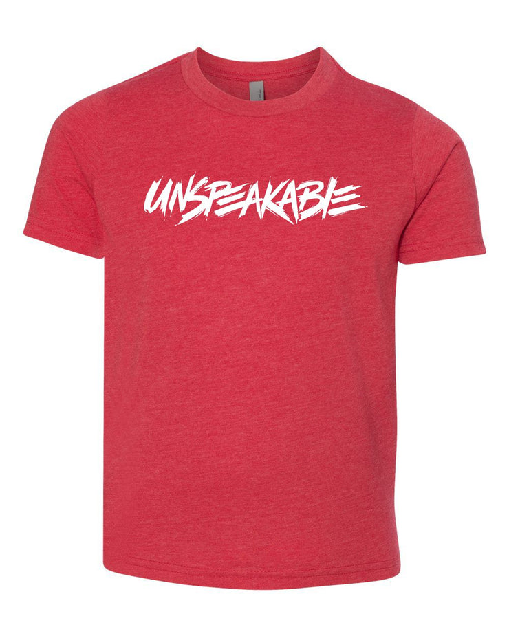 RED HEATHERED SHIRT WITH WHITE FONT