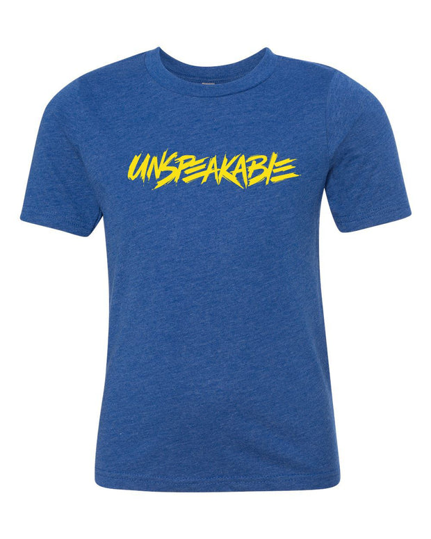 ROYAL BLUE HEATHERED T-SHIRT WITH YELLOW FONT - UnspeakableGaming