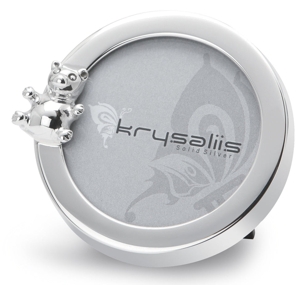 Krysaliis Round Teddy Sterling Silver Picture Frame