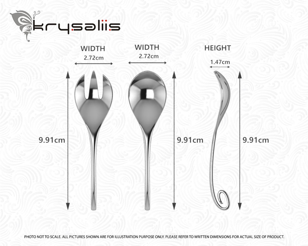 925 Sterling Silver Curved Baby Spoon and Fork Gift Set By Krysaliis