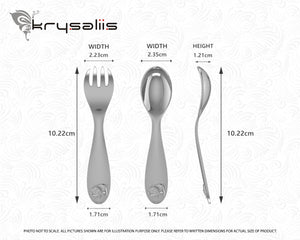Piggy Silver Plate Baby Spoon Fork Set by Krysaliis