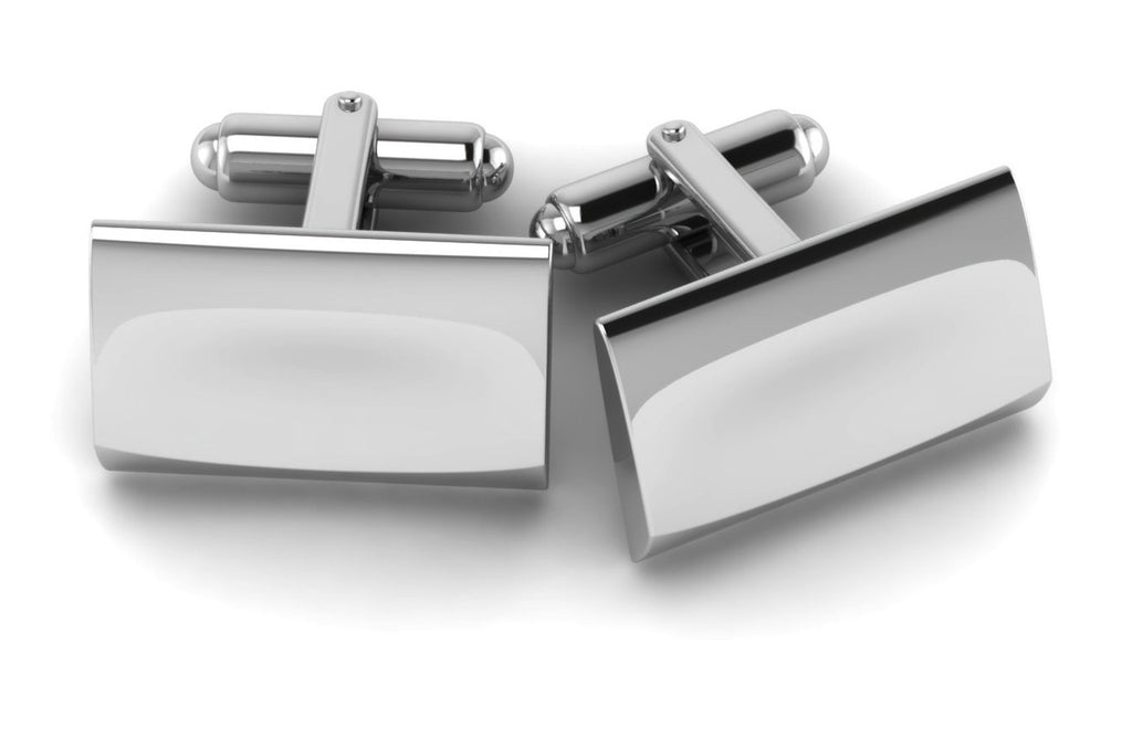 Sterling Silver Sleek Rectangle Cufflink by Krysaliis