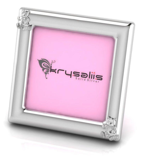 Krysaliis Teddy Square Sterling Silver Picture Frame
