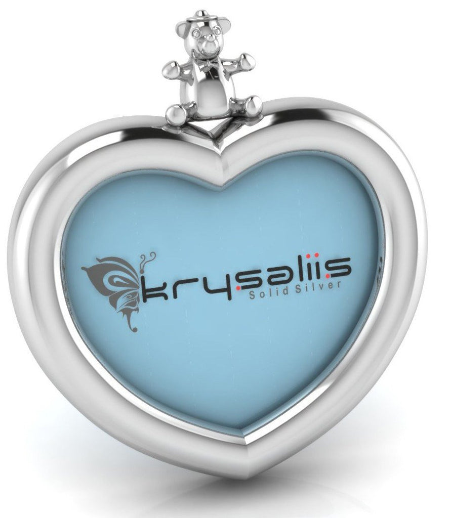 Krysaliis Teddy Heart Square Sterling Silver Picture Frame