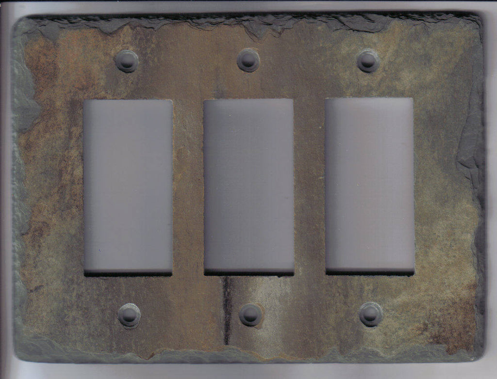 Slate Stone Light Switch Outlet Covers Crafted From Reclaimed Triple Decora Plate