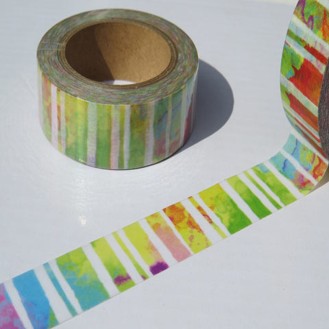 rainbow stripe colourful abstract washi masking tape