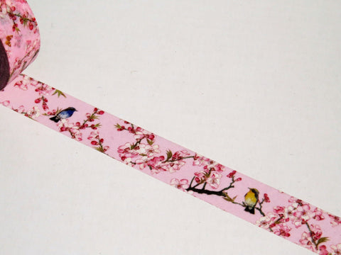 cherry blossom pink and birds washi tape