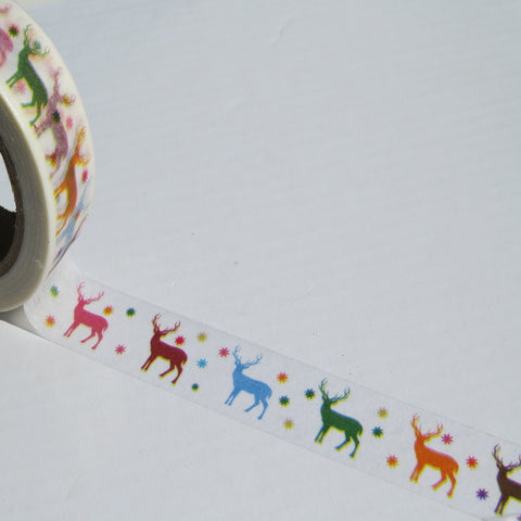 christmas reindeers washi decorative tape