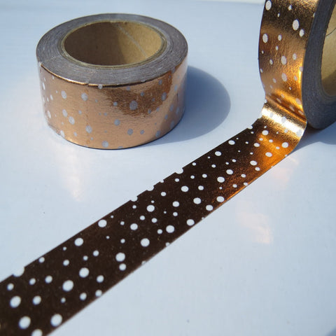 copper foil with white spots washi decorative masking tape