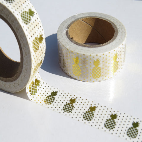 gold foil dots and pineapples washi masking paper tape
