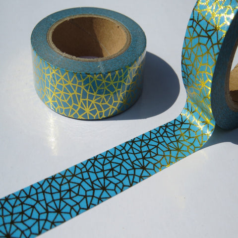 teal green and gold foil washi masking tape