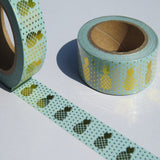 green and gold pineapples washi masking tape
