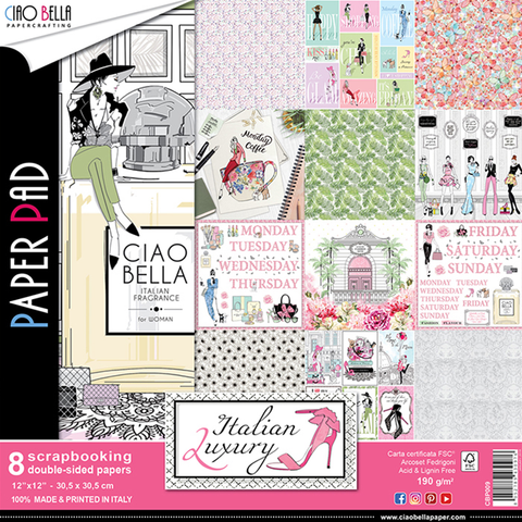 "Ciao Bella Italian Luxury Double-Sided Paper Pad 12""x12"" 190gsm 01/2020"
