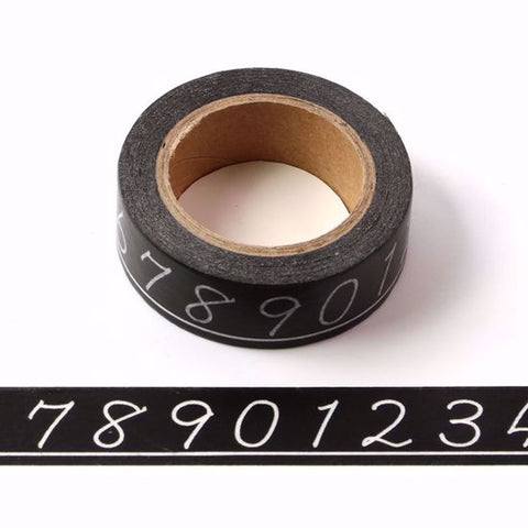 number washi paper tape