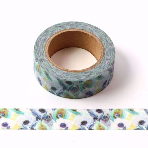 peacock floral washi paper tape