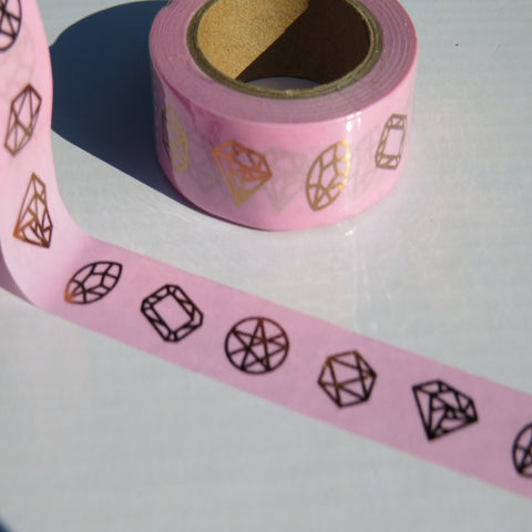 pink with gold foil diamond gemstones washi tape